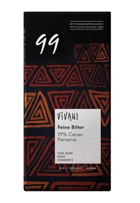 Bilde av Vivani Mørk sjokolade 99 % med kokosblomstsukker 80 g